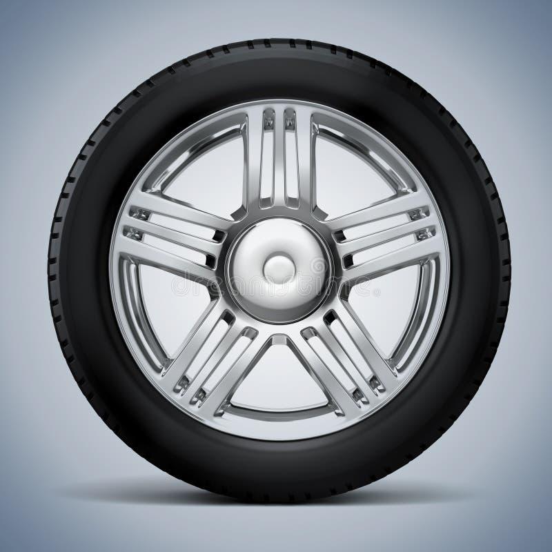 hjul för gummihjul 3d och legerings vektor illustrationer