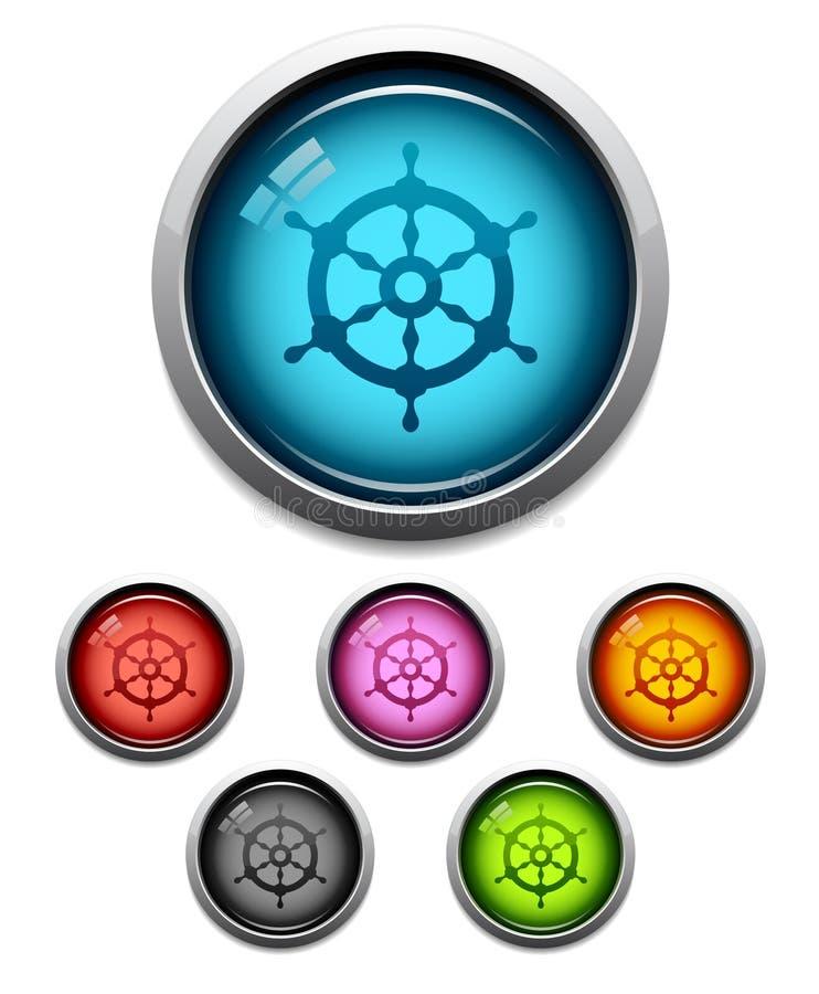 hjul för knappsymbolsship royaltyfri illustrationer