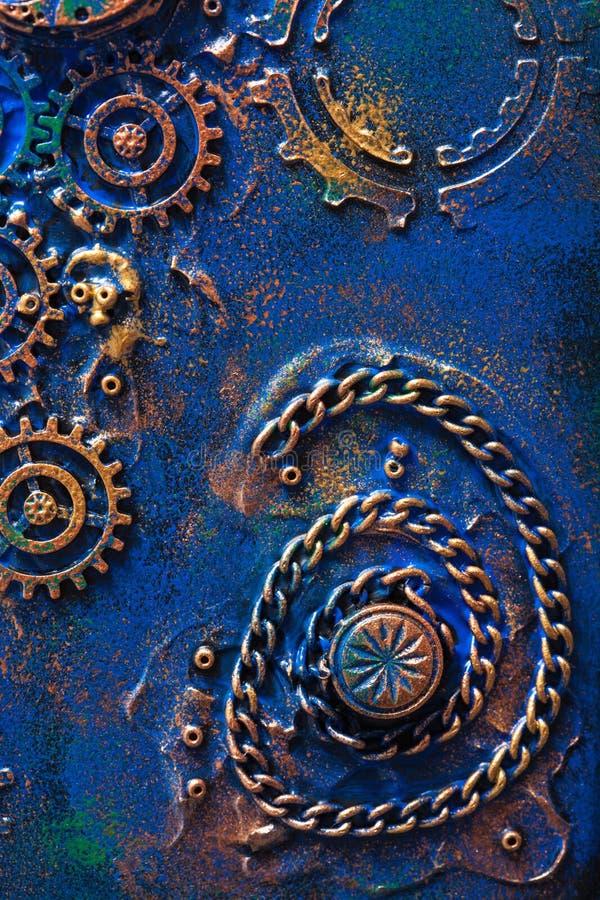 Hjul för kuggar för handgjord steampunkbakgrund mekaniska royaltyfri foto