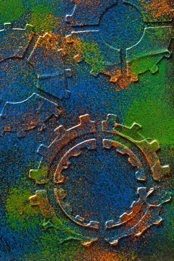 Hjul för kuggar för handgjord steampunkbakgrund mekaniska royaltyfria foton