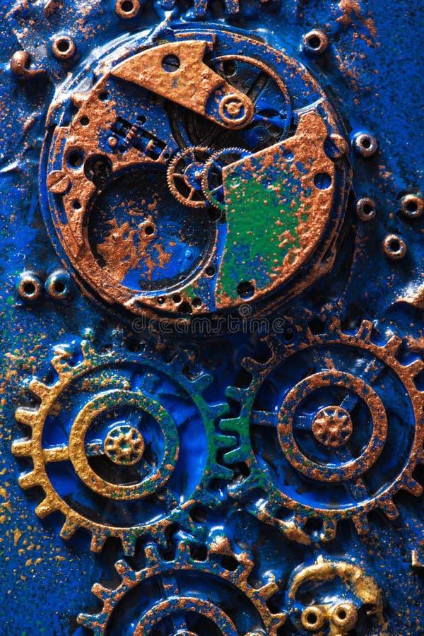 Hjul för kuggar för handgjord steampunkbakgrund mekaniska arkivfoto
