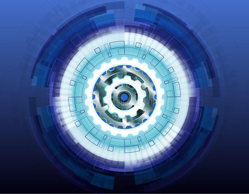 Hjul för kugghjul för vektorillustration vitt på strömkretsbräde, högteknologisk digital teknologi och abstrakt futuristiskt för  vektor illustrationer