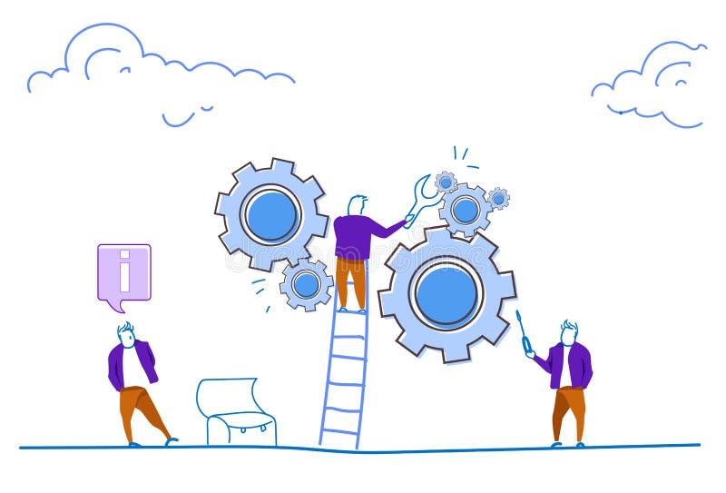 Hjul för kugghjul för kontroll för skiftnyckel för tekniker för affärsmanklättringstege som bearbetar begrepp för mekanismservice royaltyfri illustrationer