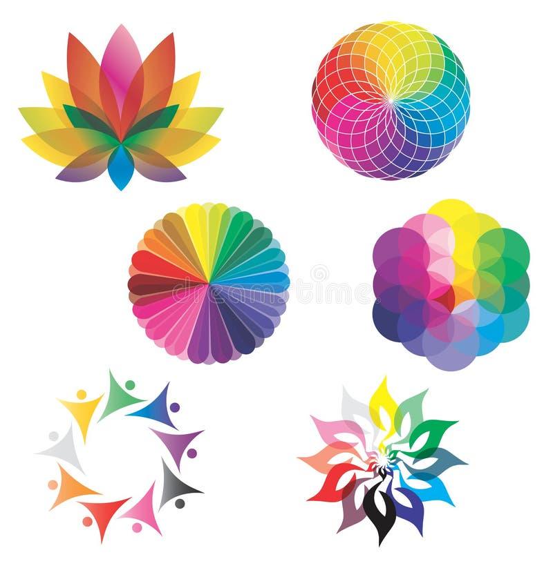 hjul för regnbåge för lotusblomma för färgfärgblomma set vektor illustrationer