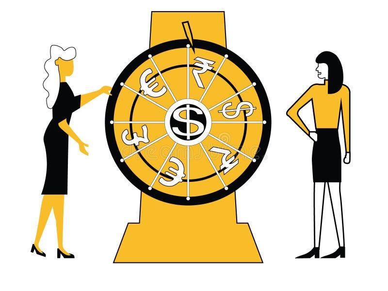 Hjul för snurr för affärskvinnor royaltyfri illustrationer