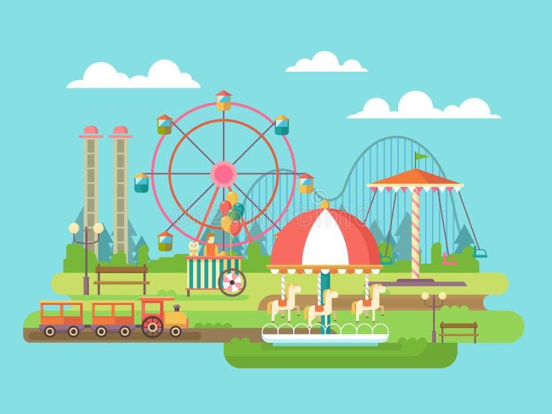 hjul för vektor för park för munterhetferrisnatt stock illustrationer