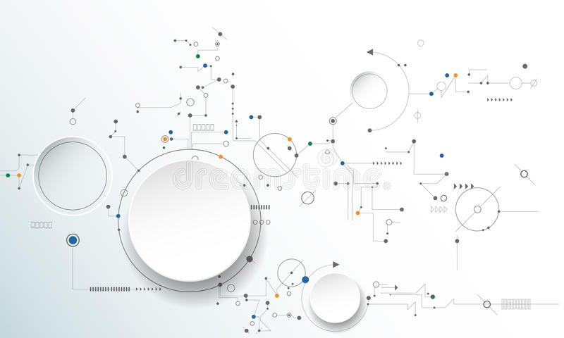 Hjul för vektorillustrationkugghjul, sexhörningar och strömkretsbräde royaltyfri illustrationer