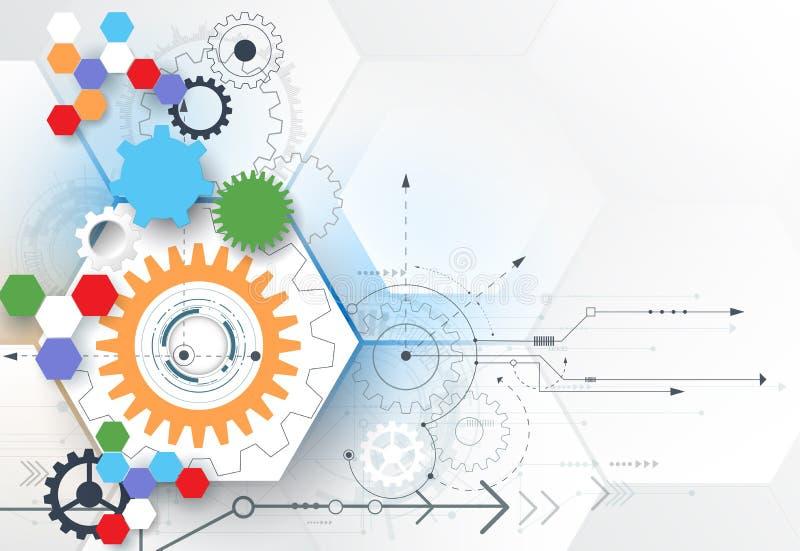 Hjul för vektorillustrationkugghjul, sexhörningar och strömkretsbräde, högteknologisk digital teknologi och teknik royaltyfri illustrationer