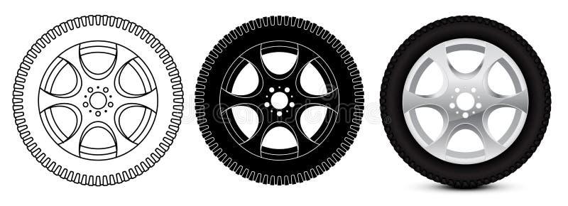 Hjul med däcket vektor illustrationer