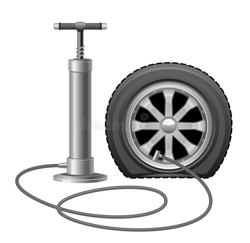 Hjul med pumpen royaltyfri illustrationer