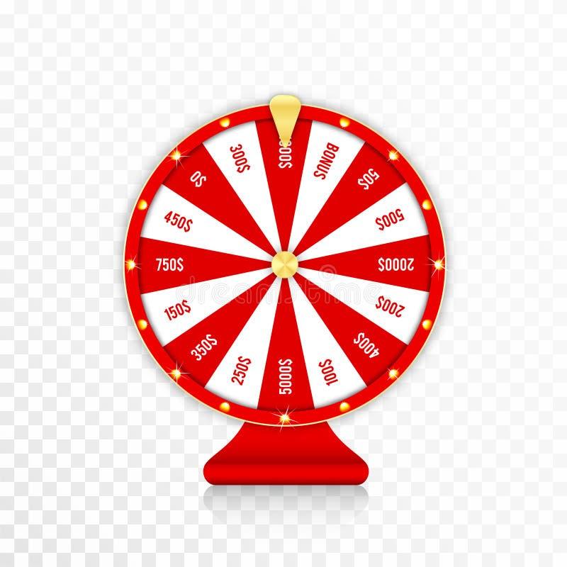 Hjulet av förmögenhet, roterande förmögenhet rullar i röda och guld- färger Den realistiska roulettdesignen för lotterit, kasino  royaltyfri illustrationer