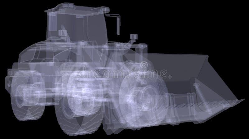 Hjulladdare. Röntgenstrålen framför stock illustrationer