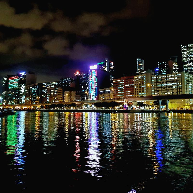 HK夜视图 库存照片