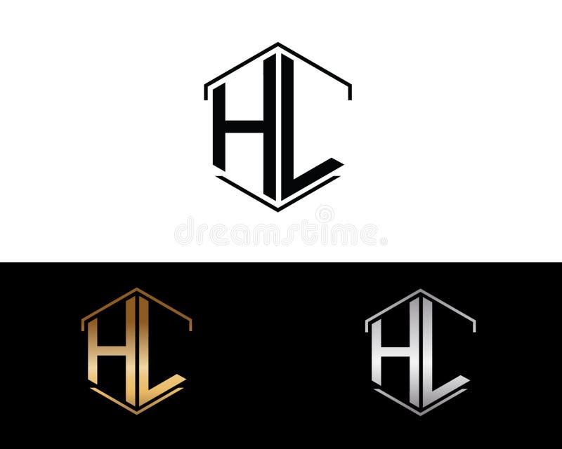 HL Buchstaben verbunden mit Hexagonformlogo lizenzfreie abbildung