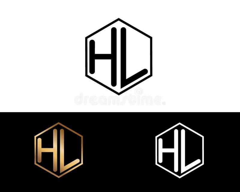 HL Buchstaben verbunden mit Hexagonformlogo vektor abbildung