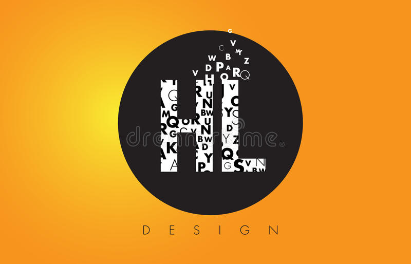 HL H L Logo Made Kleine letters met Zwarte Cirkel en Gele B vector illustratie