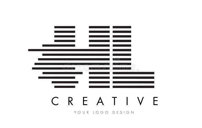 HL H L Zebra Letter Logo Design with Black and White Stripes stock illustration