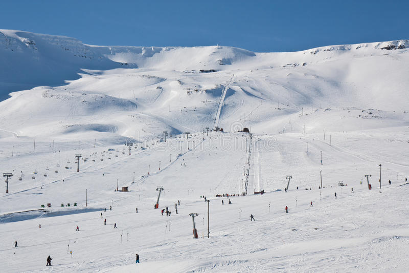 Hlidarfjall skiing area, Akureyri royalty free stock image