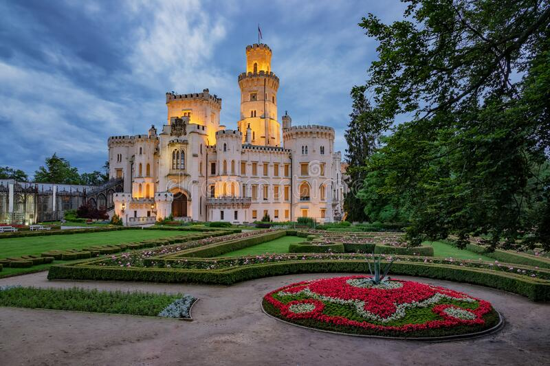 Hluboka chateau illuminated at night royalty free stock image