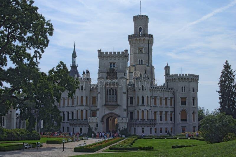 Beautiful white renaissance castle Hluboka nad Vltavou, South Bohemia. Summer morning. HLUBOKA NAD VLTAVOU, CZECH REPUBLIC - AUGUST 24, 2017: Beautiful white royalty free stock photos