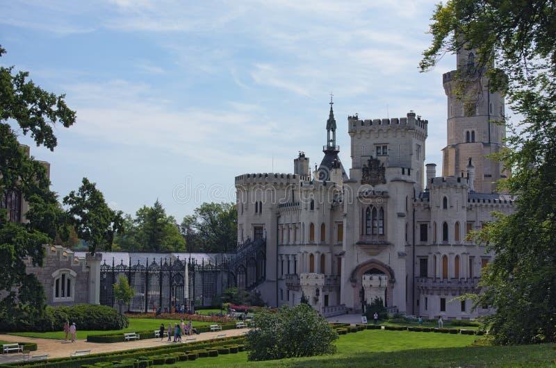 Beautiful white renaissance castle Hluboka nad Vltavou, South Bohemia. Summer morning. HLUBOKA NAD VLTAVOU, CZECH REPUBLIC - AUGUST 24, 2017: Beautiful white stock image
