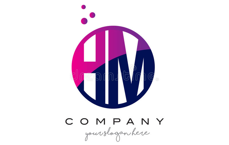 HM H M Circle Letter Logo Design com Dots Bubbles roxo ilustração royalty free