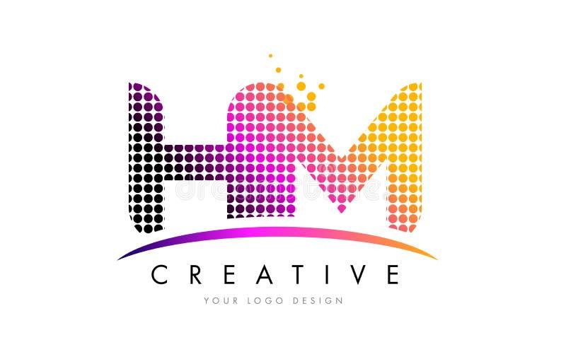 HM H M Letter Logo Design con los puntos magentas y Swoosh ilustración del vector