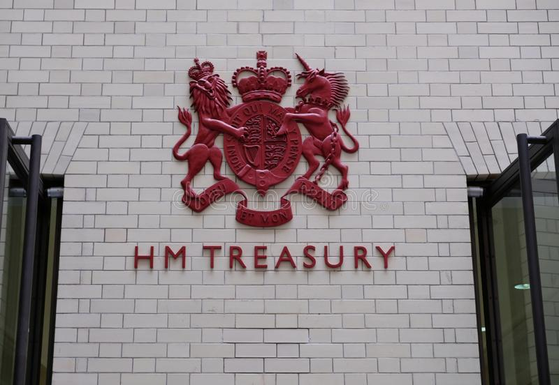 HM Treasury Offices. London, HM TREASURY : coat of arms of the Government Office entrance located 1 Horse Guards Road. Refurbished in 2002 stock photography