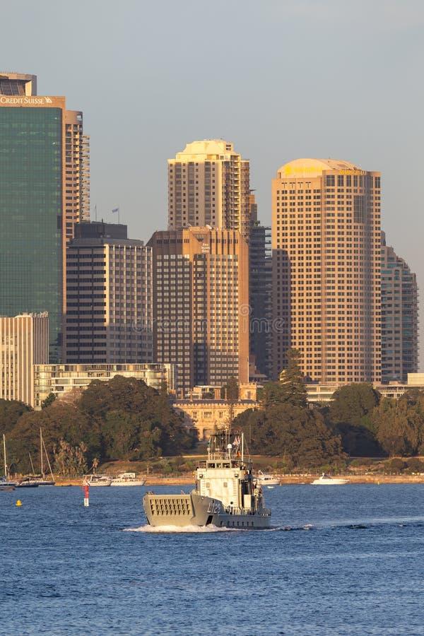 HMAS Labuan L 128 Balikpapan-class landing craft of the Royal Australian Navy in Sydney Harbor royalty free stock images