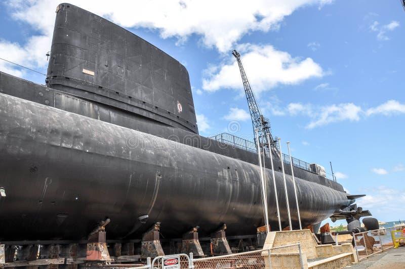 HMAS-UGNAR: Bro och akter för Oberon gruppubåt royaltyfria foton
