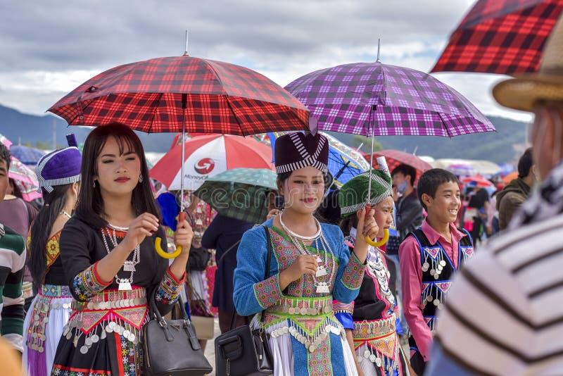Hmong礼服在一个新年 图库摄影