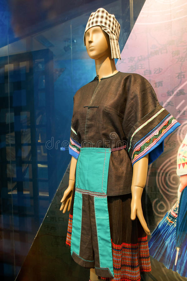 Hmong clothing dispaly in Guizhou, China royalty free stock photography