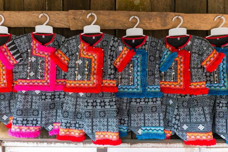 Hmong dress. Hmong indigenous tribe colorful baby dress. Chiang Rai, Thailand royalty free stock photography