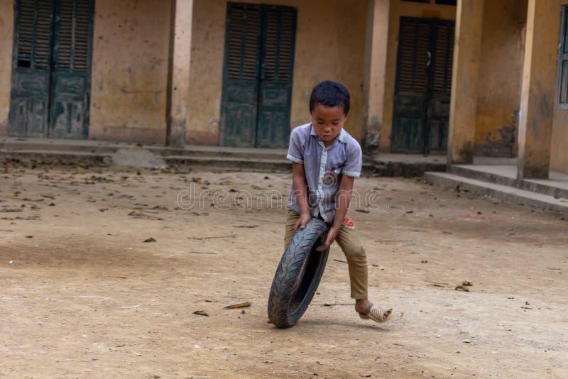 Hmong ethnic child playing Vietnam royalty free stock image