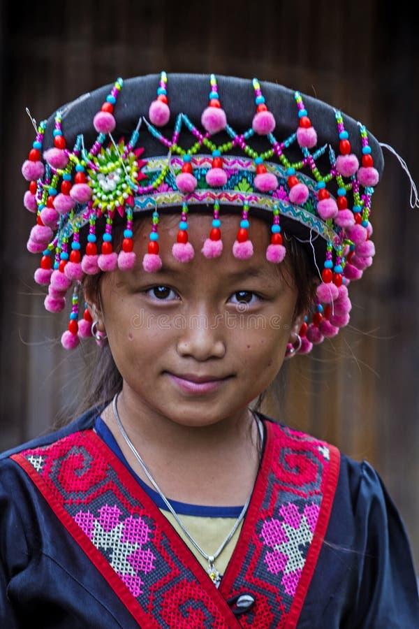 Hmong ethnic minority in Laos. BAM NA OUAN , LAOS - AUG 13 : Girl from the Hmong Minority in Bam Na Ouan village Laos on August 13 2018. The Hmong minority is stock photo