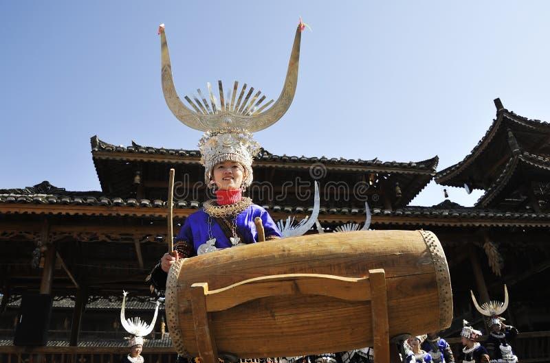 Hmong girl drumming royalty free stock images