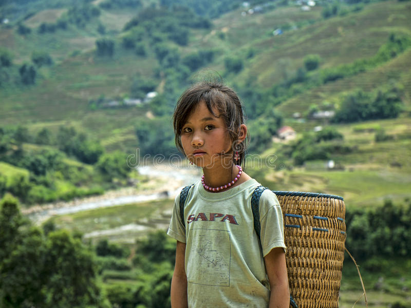 Hmong Girl from Sapa,VieTnam. Ethnic Hmong children in Sapa, Vietnam.Vietnam is a country where there are 54 different racial-ethnic groups.Children Hmong start royalty free stock images
