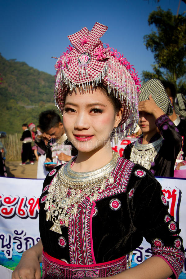Hmong hill tribe woman. stock photos