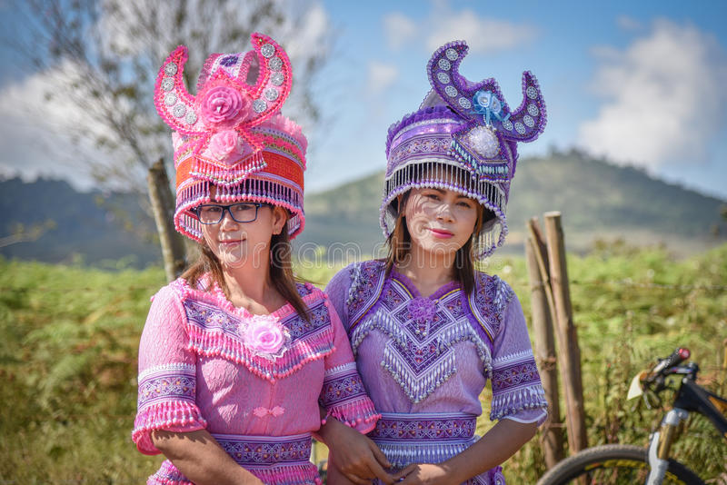 Hmong hill tribe woman. Beautiful Girls - Unidentified traditionally dressed  in Hmong new year festival on 25 December 2016 in North thailand royalty free stock images