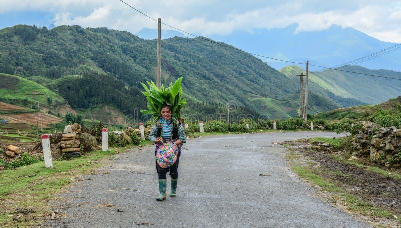 Hmong kvinna som går på bergvägen royaltyfria bilder