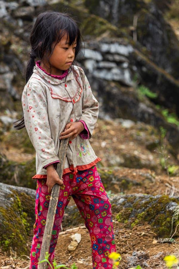 Hmong mniejszości etnicznej praca dzieci Wietnam fotografia royalty free
