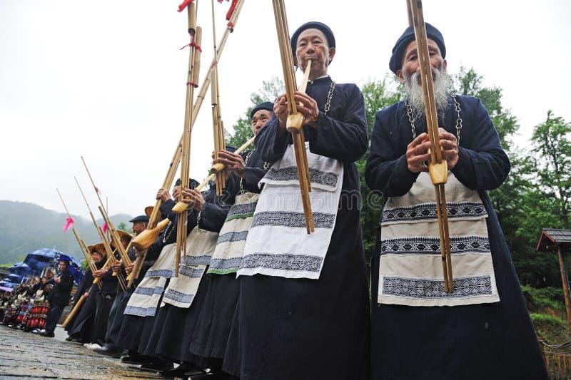Hmong musicians from Guizhou perform on lusheng stock photos