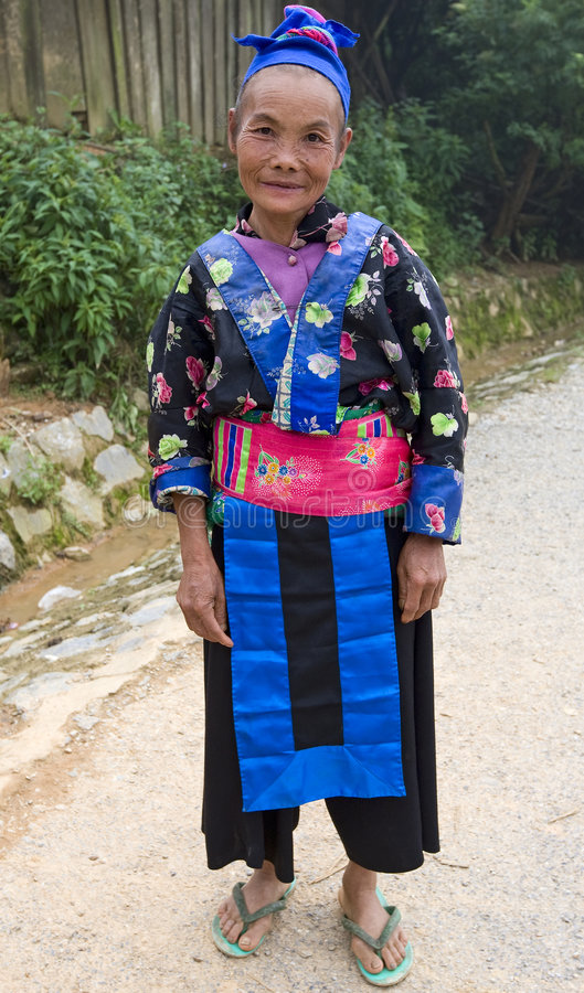 Hmong, old woman in Laos. In a traditional dress stock image