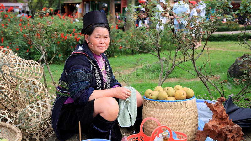 Hmong's woman sell fruits on street at Sapa. SAPA - JUL 22: Unidentified Black Hmong's woman from Cat Cat village sells fruits and baskets on July 22, 2012 in stock photography