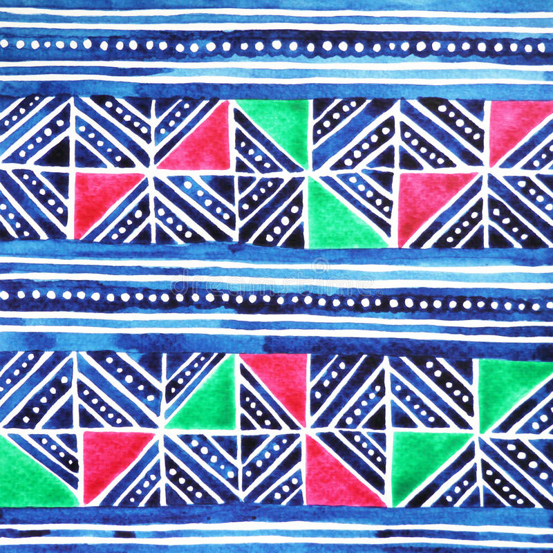 Hmong tribe textile pattern design, watercolor painting hand drawn stock photo