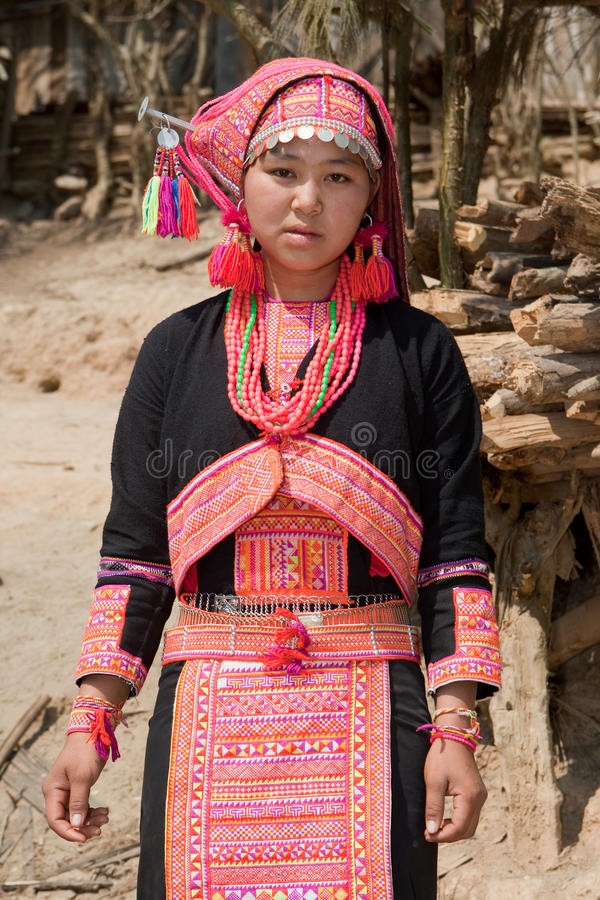 Hmong woman from Laos. Portrait in traditional national costume royalty free stock image