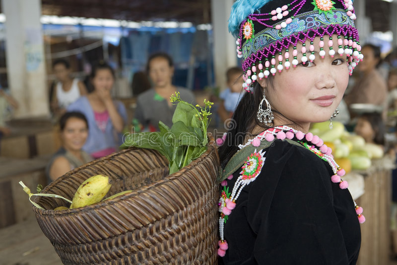 Hmong woman in Laos stock photo