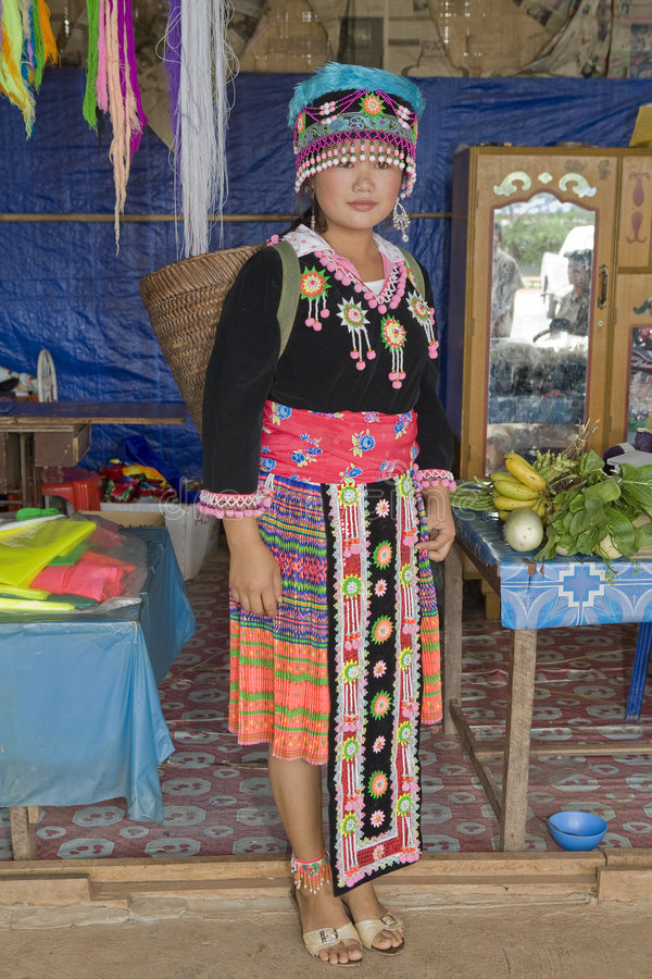 Hmong woman in Laos stock images