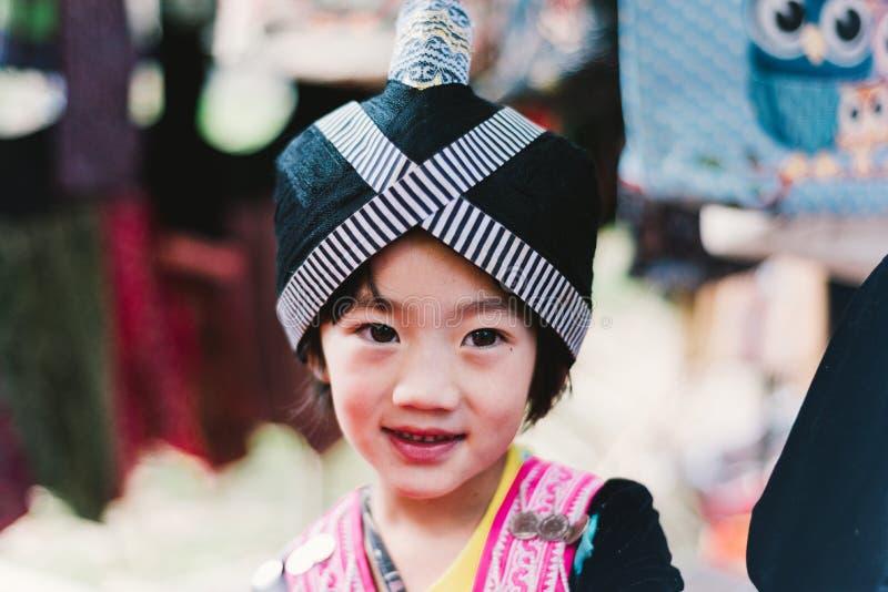 Hmong wzgórza plemienia dzieci zdjęcia stock