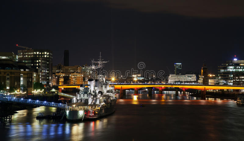 Download HMS Belfast at night editorial image. Image of battle - 27322995